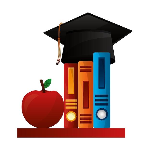 本とリンゴの帽子卒業 Premiumベクター
