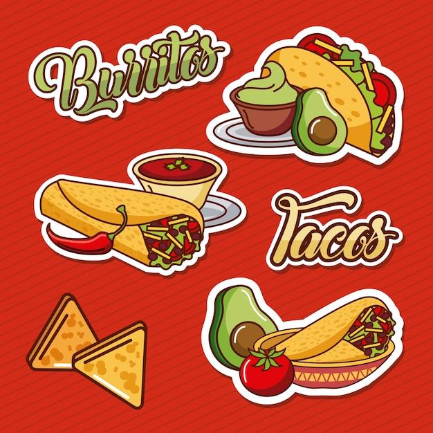 ブリトータコスナチョスメキシコ料理トマトアボカド Premiumベクター