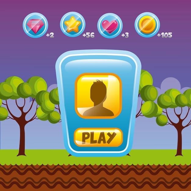 ビデオゲームのインターフェイスデザイン Premiumベクター