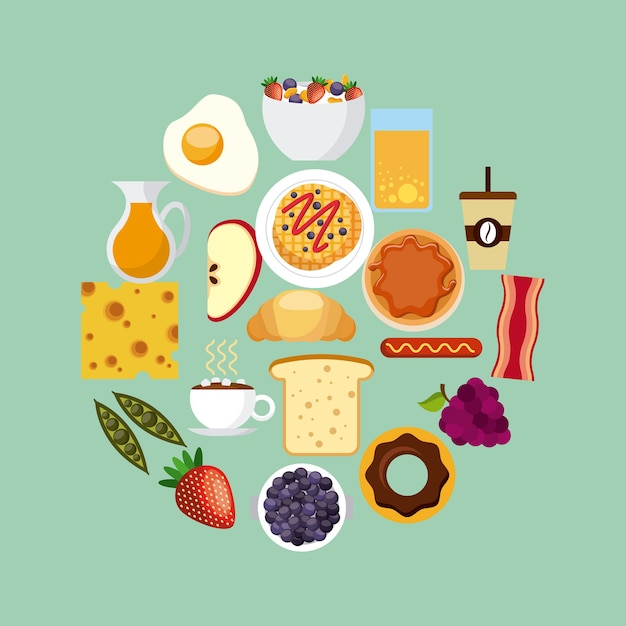 朝食フードデザイン Premiumベクター
