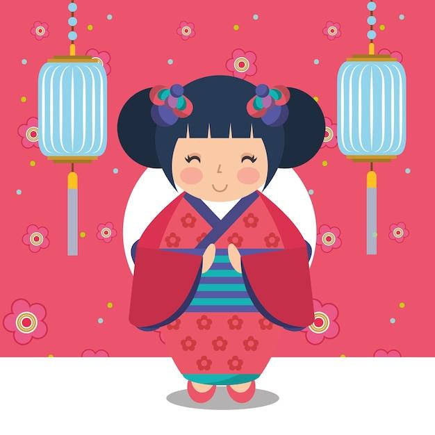 着物の日本のコケシ人形 Premiumベクター