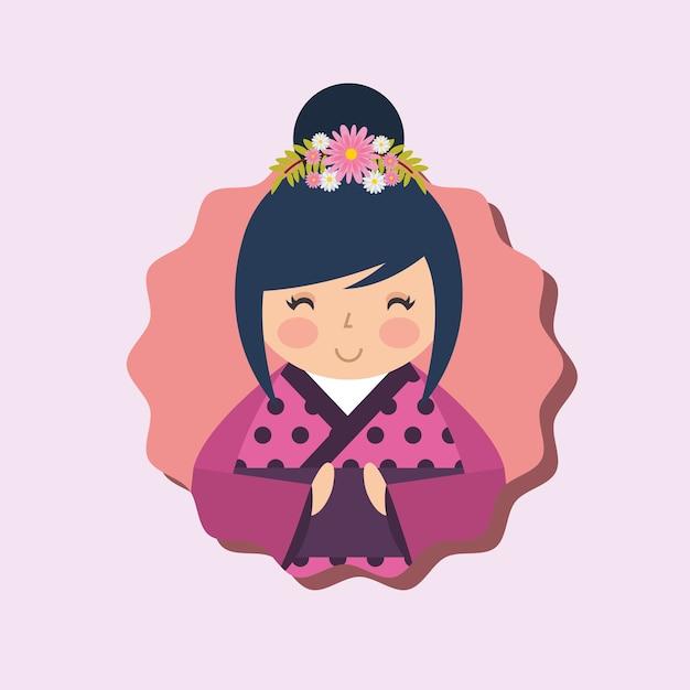 かわいい伝統的な日本の木目人形の着物 Premiumベクター