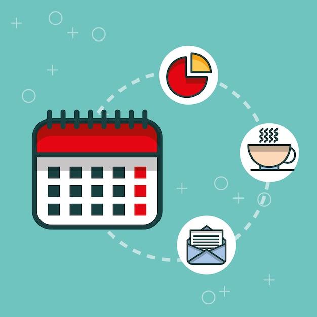 ビジネスカレンダーチャートメールコーヒーカップオフィス Premiumベクター