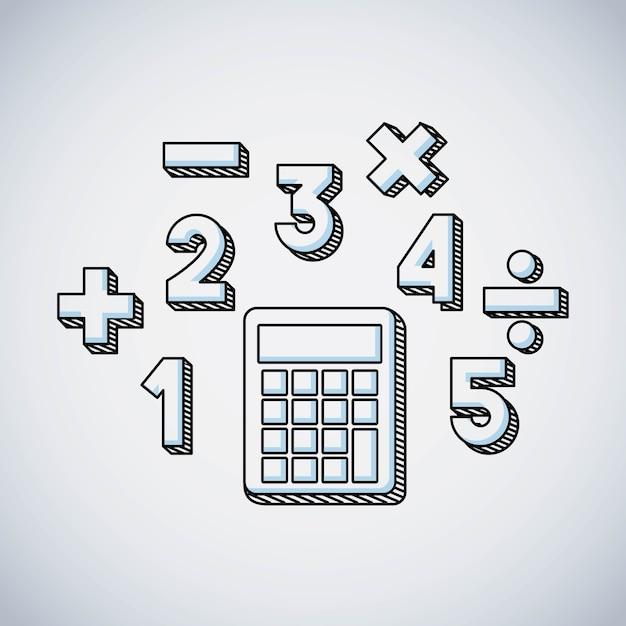 計算機の数学教育の線アイコン Premiumベクター