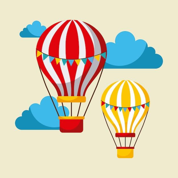 Воздушные шары летают карнавально веселое честное празднование Premium векторы
