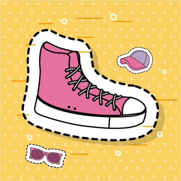 Розовый кроссовки спортивные аксессуары значки наклейки Premium векторы