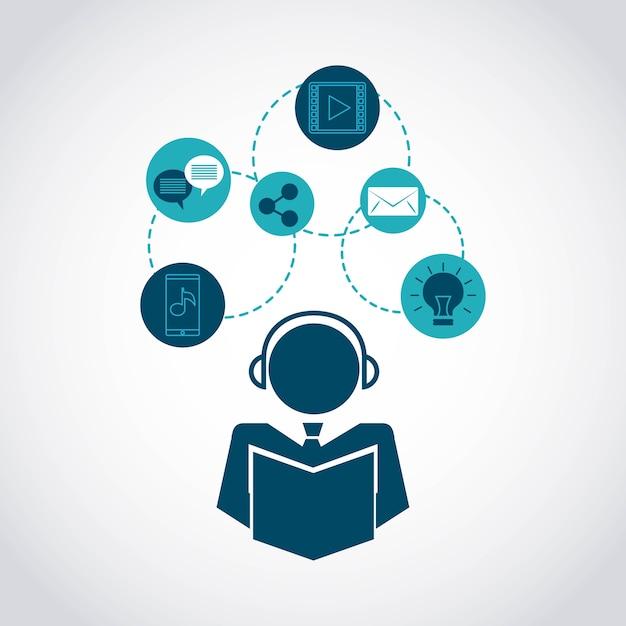 テクノロジーユーザーコミュニティアイコン Premiumベクター