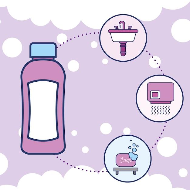ボトルシャンプー洗面器乾燥機と石鹸 Premiumベクター