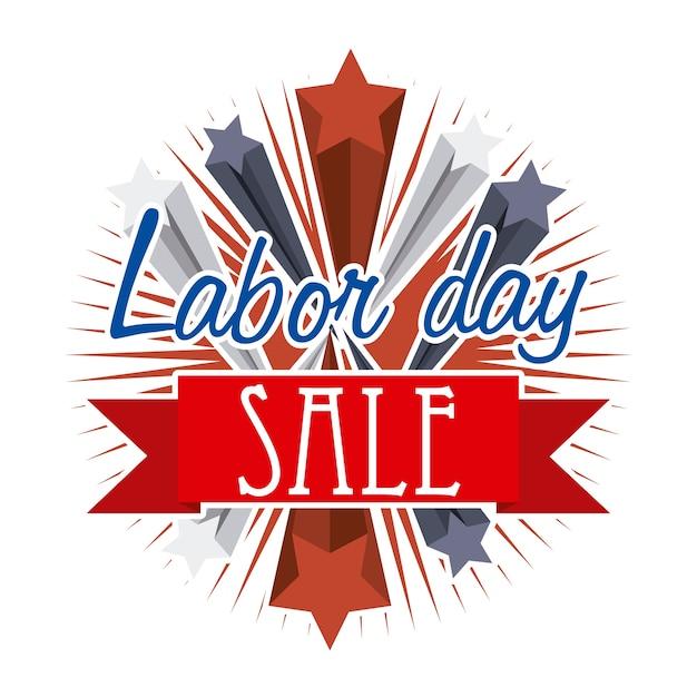 白い背景ベクトルイラスト以上の労働日の販売 Premiumベクター