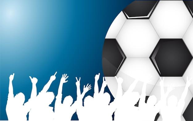 青い背景ベクトルの上にサッカーボールとシルエット Premiumベクター