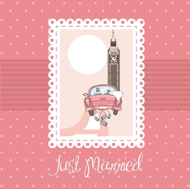 ピンクだけで結婚したカードの背景ベクトルイラスト Premiumベクター