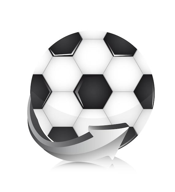 白い背景ベクトルの上に矢印とサッカーボール Premiumベクター