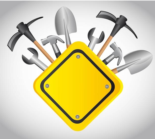 空の黄色の記号ベクトル図でツール構築 Premiumベクター