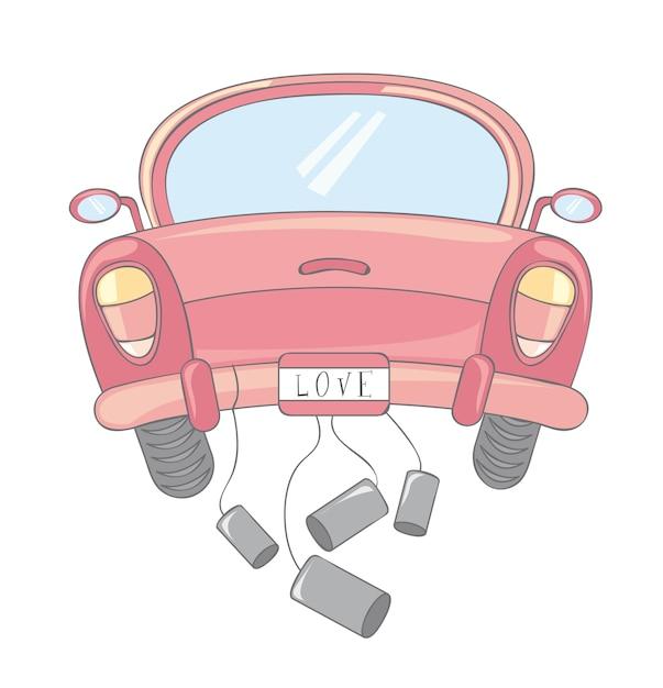 白い背景ベクトルのイラストを介してピンクの車の漫画 Premiumベクター