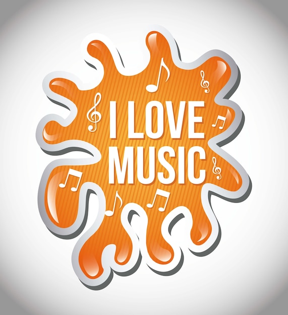 Любовная музыка иллюстрация над всплеск фон вектор Premium векторы