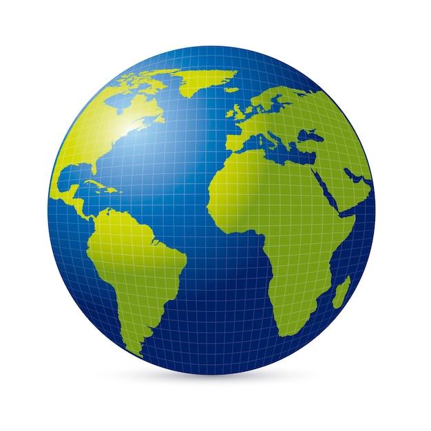 緑と青の世界の地球 Premiumベクター