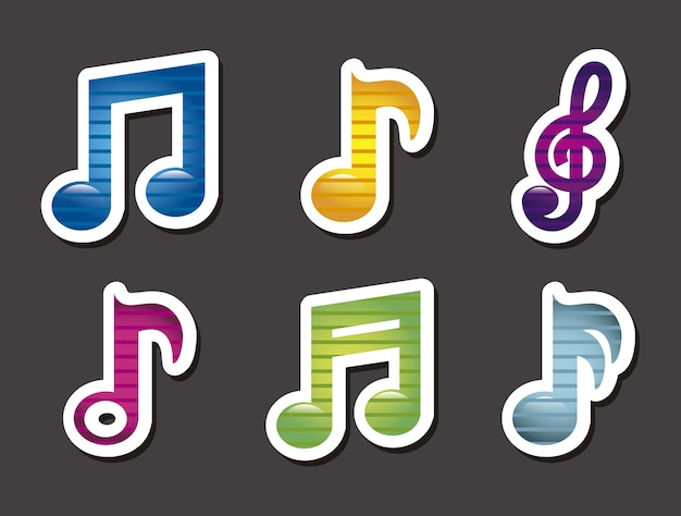 灰色の背景に音楽のアイコンベクトル図 Premiumベクター