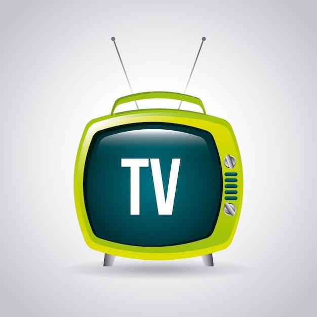 灰色の背景ベクトル図上のテレビデザイン Premiumベクター