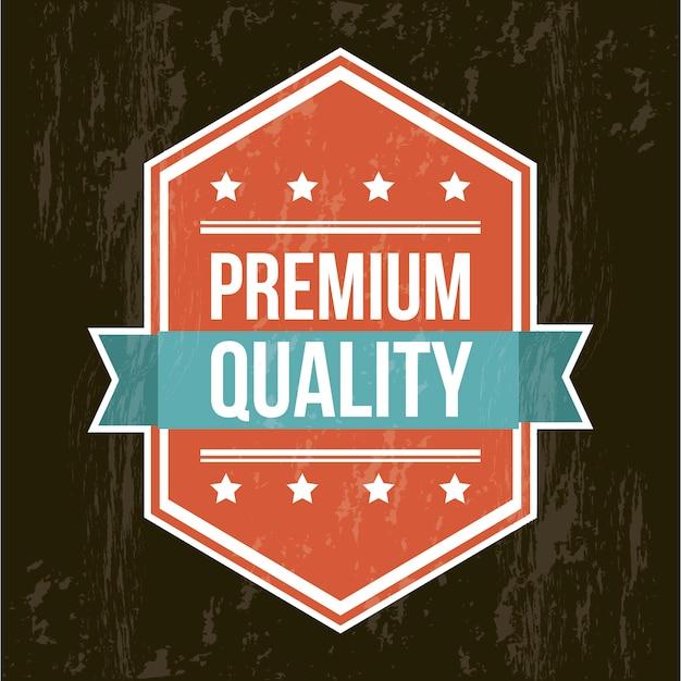 黒い背景の上にプレミアム品質のラベル Premiumベクター