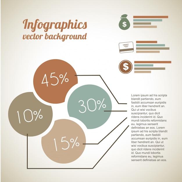 ヴィンテージバックグラウンドの経済的インフォグラフィックス Premiumベクター