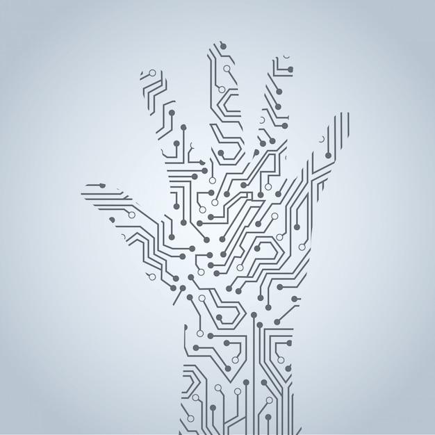 灰色の背景の上に手の回路ベクトル図 Premiumベクター