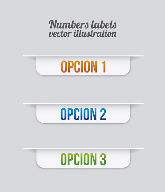 灰色の背景ベクトル図の上に番号ラベル Premiumベクター