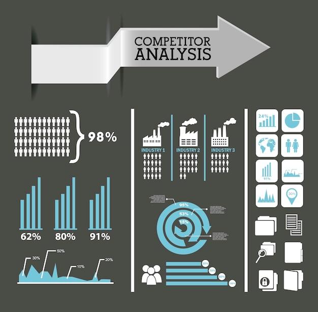 競合他社分析インフォグラフィックス青と灰色の色ベクトルの背景 Premiumベクター