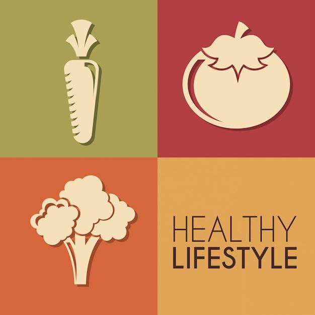 色の背景には、健康的なライフスタイルベクトル図 Premiumベクター