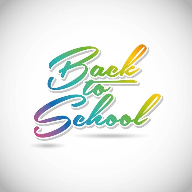 灰色の背景の上に学校に戻るベクトル図 Premiumベクター