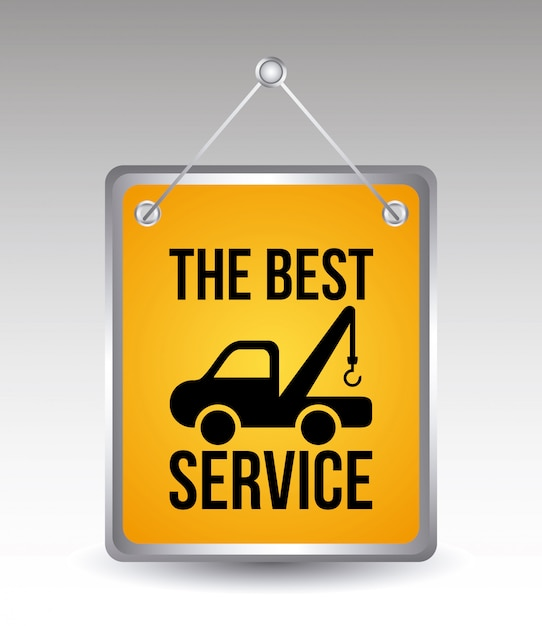 灰色の背景にベクトルサービスを車のサービス Premiumベクター