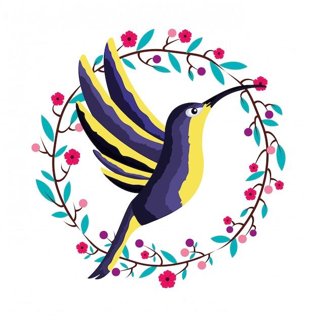 ハチドリ鳥花輪熱帯 Premiumベクター