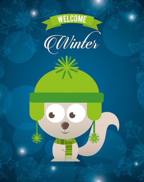 冬のデザインを歓迎 Premiumベクター