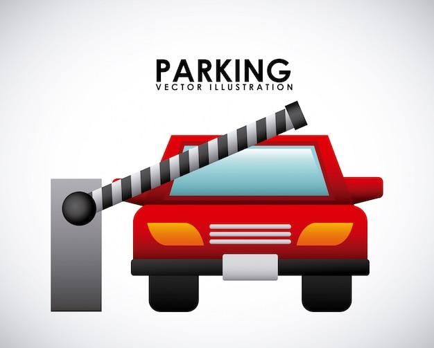 灰色の背景ベクトル図上の駐車信号 Premiumベクター