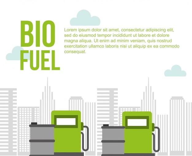 バイオ燃料ポンプ場ガス樽都市環境 Premiumベクター