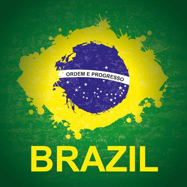 緑の背景のベクトル図の上のブラジルのデザイン Premiumベクター