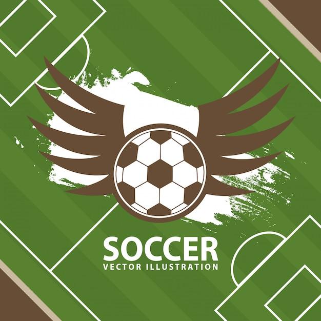 Футбол дизайн на фоне поля Premium векторы