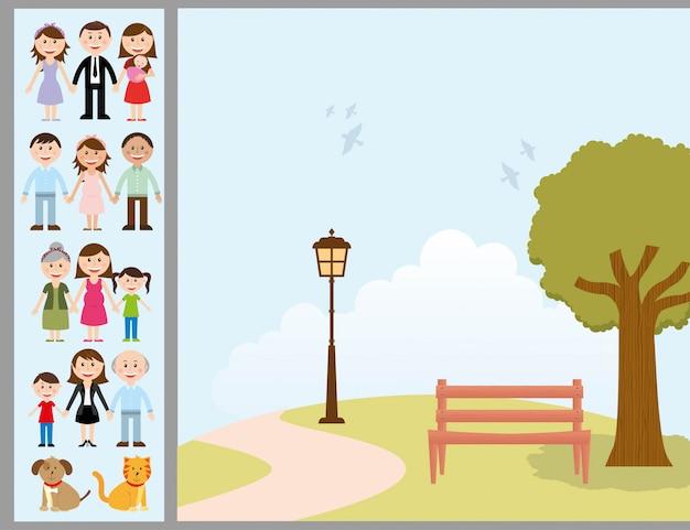 Семейный дизайн на фоне ландшафта векторные иллюстрации Premium векторы