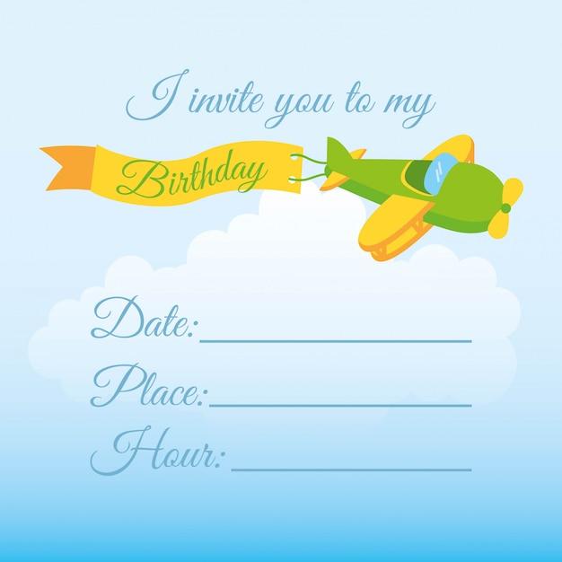 Дизайн приглашения день рождения на фоне неба векторные иллюстрации Premium векторы