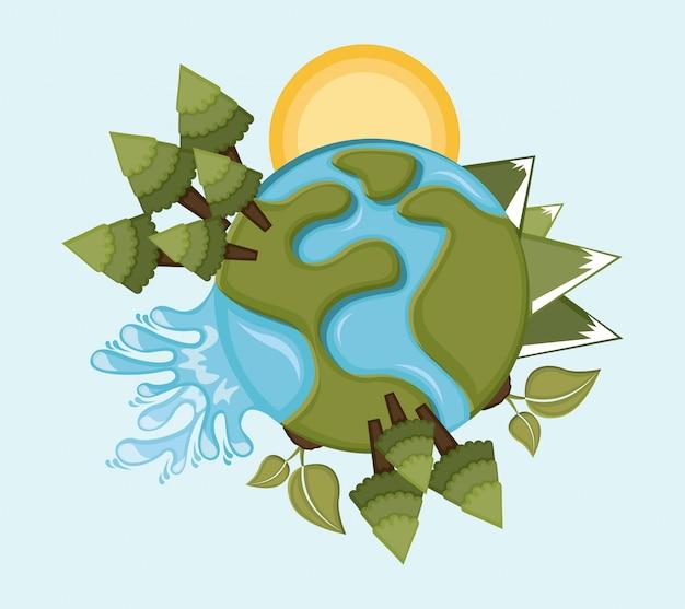 青い背景ベクトルイラスト地球デザイン Premiumベクター
