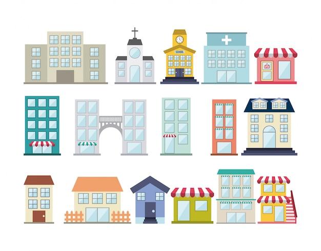 Дизайн зданий на белом фоне векторные иллюстрации Premium векторы