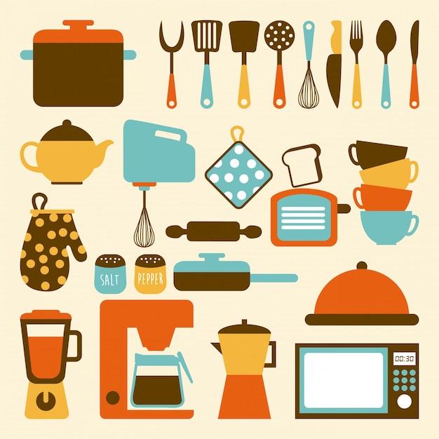 ベージュ色の背景ベクトルイラストキッチンデザイン Premiumベクター