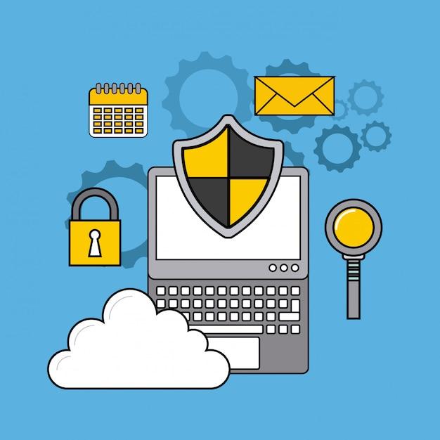 オンラインセキュリティの平らな線アイコン Premiumベクター