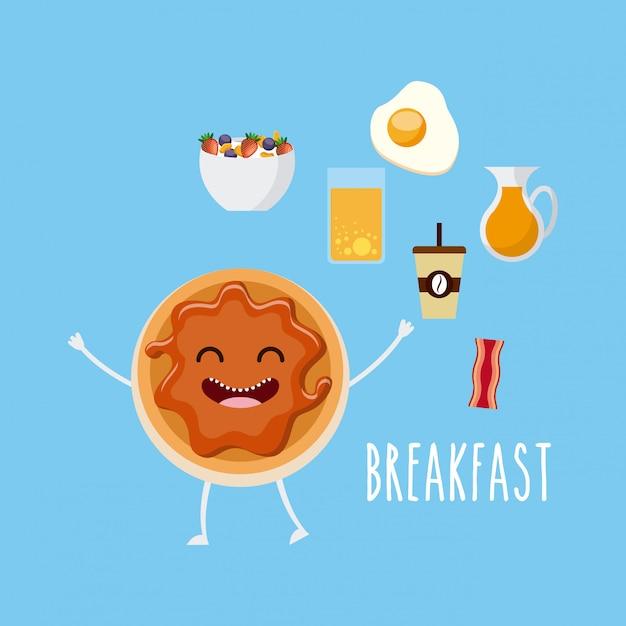 Вкусный и питательный завтрак характер Premium векторы