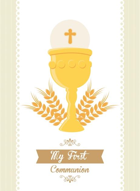 私の最初の聖体拝領 Premiumベクター