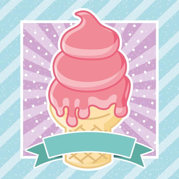 アイスクリームのおいしい画像 Premiumベクター
