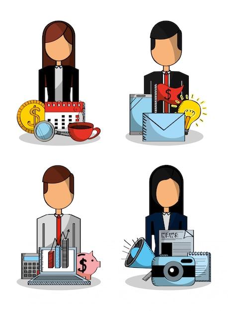 Люди устанавливают бизнес деньги свиная диаграмма статистика почта Premium векторы