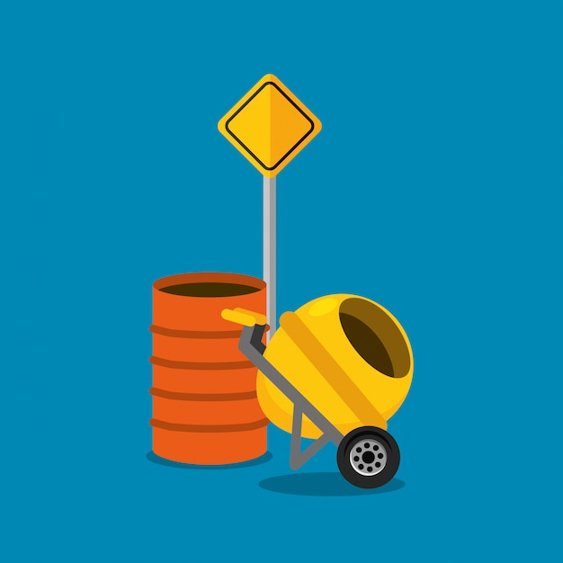 コンクリートミキサーとバレル道路標識工事 Premiumベクター