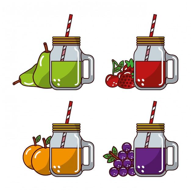 コレクション果物ジュースガラスわら新鮮な自然 Premiumベクター