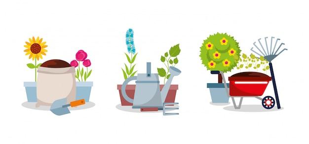 園芸セット機器ツール花木植物 Premiumベクター