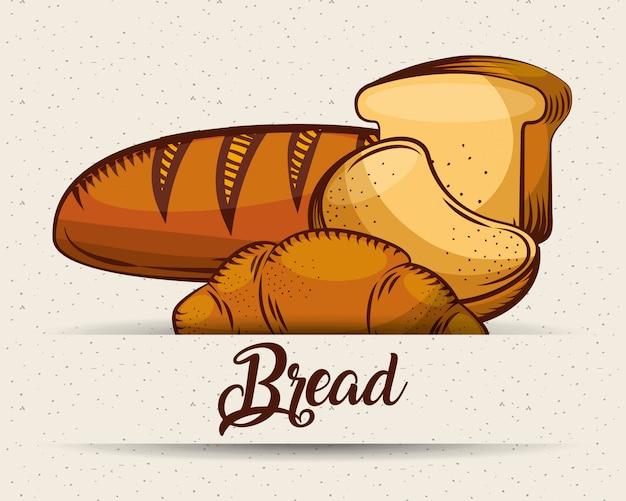 Хлеб хлебобулочные изделия еда шаблон изображения Premium векторы